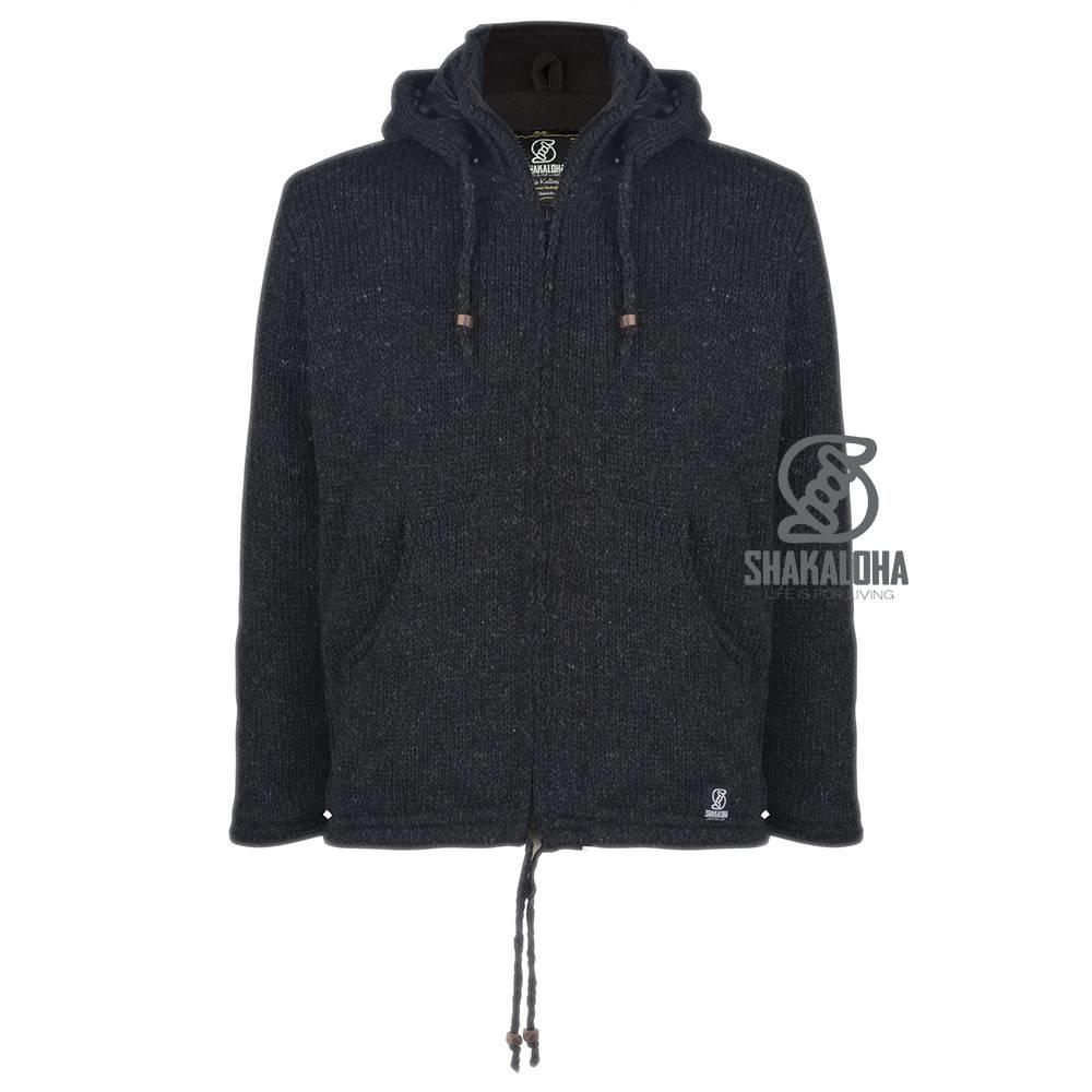 Shakaloha Shakaloha Knitted Wool Cardigan Breaker Anthracite avec coupe-vent en nylon et capuche amovible - Homme/Uni - Fabriqué à la main au Népal à partir de Sheep's WoolWarm Cardigan en laine avec doublure coupe-vent. Cette combinaison rend le gilet unique. La v