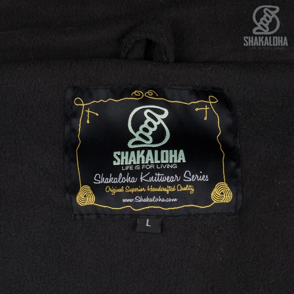 Shakaloha Shakaloha Strickwolle Strickjacke Mustang Anthrazit mit Fleecefutter und abnehmbarer Kapuze - Herren/Uni - Handmade in Nepal from Sheep Wool