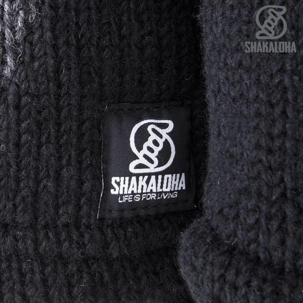 Shakaloha Cardigan en laine tricoté Shakaloha Fame Anthracite avec doublure en polaire et capuche amovible - Femme - Fabriqué à la main au Népal à partir de laine de mouton