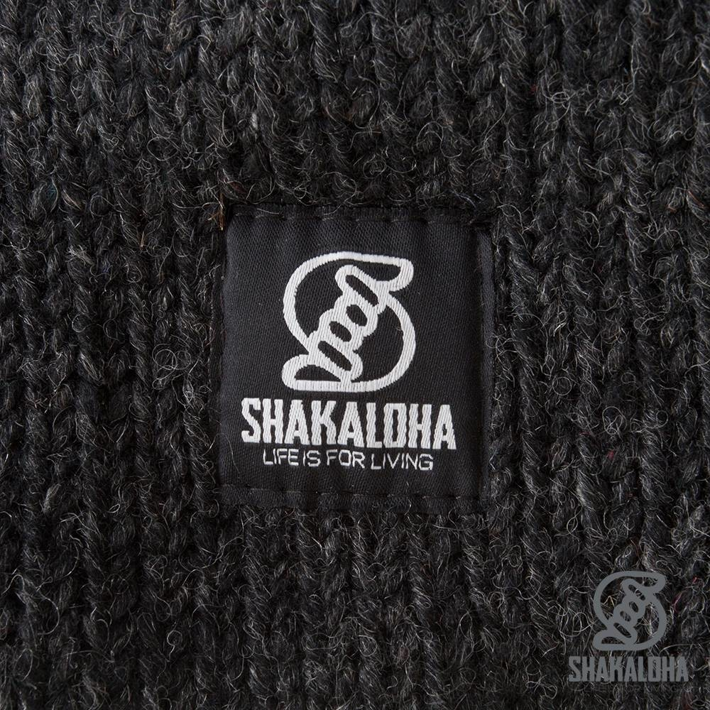 Shakaloha Cardigan en laine tricoté Shakaloha Whistler Anthracite avec doublure en polaire et capuche amovible - Femme - Fabriqué à la main au Népal à partir de laine de mouton