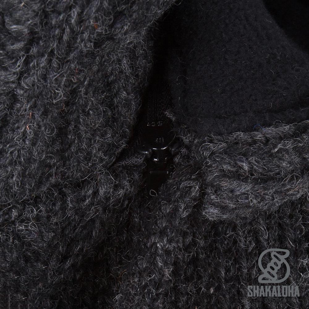 Shakaloha Shakaloha Gebreid Wollen Vest Whistler Antraciet met Fleece Voering en Afneembare Capuchon - Dames - Handgemaakt in Nepal van Schapenwol