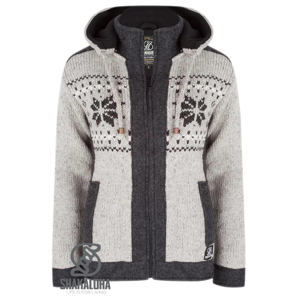 Shakaloha Cardigan en laine tricoté Shakaloha Jigsaw ZH gris avec doublure en polaire et capuche amovible - Femme - Fabriqué à la main au Népal à partir de laine de mouton