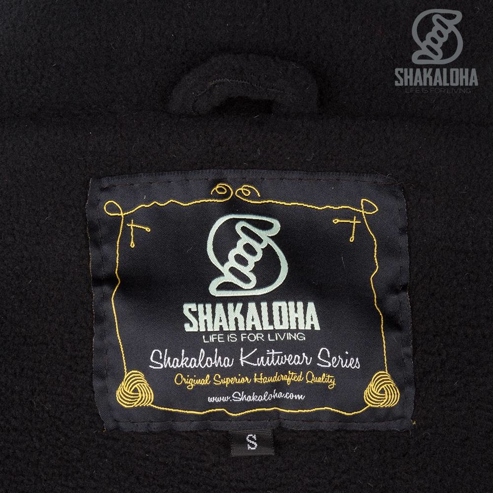 Shakaloha Shakaloha Strickwolle Strickjacke Jigsaw ZH Grau mit Fleecefutter und abnehmbarer Kapuze - Damen - Handmade in Nepal from Sheep Wool
