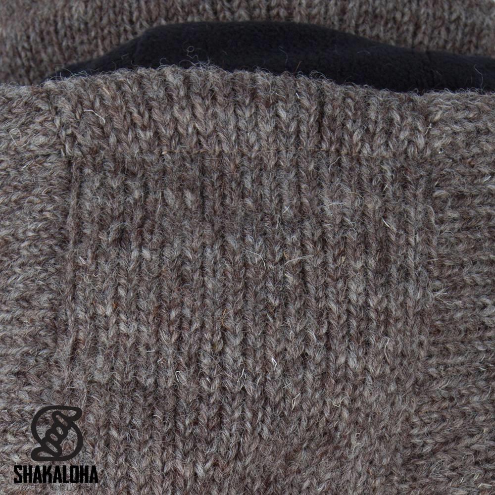 Shakaloha Shakaloha Gebreid Wollen Vest Cody Licht Bruin Taupe met Fleece Voering en Afneembare Capuchon - Dames - Handgemaakt in Nepal van Schapenwol