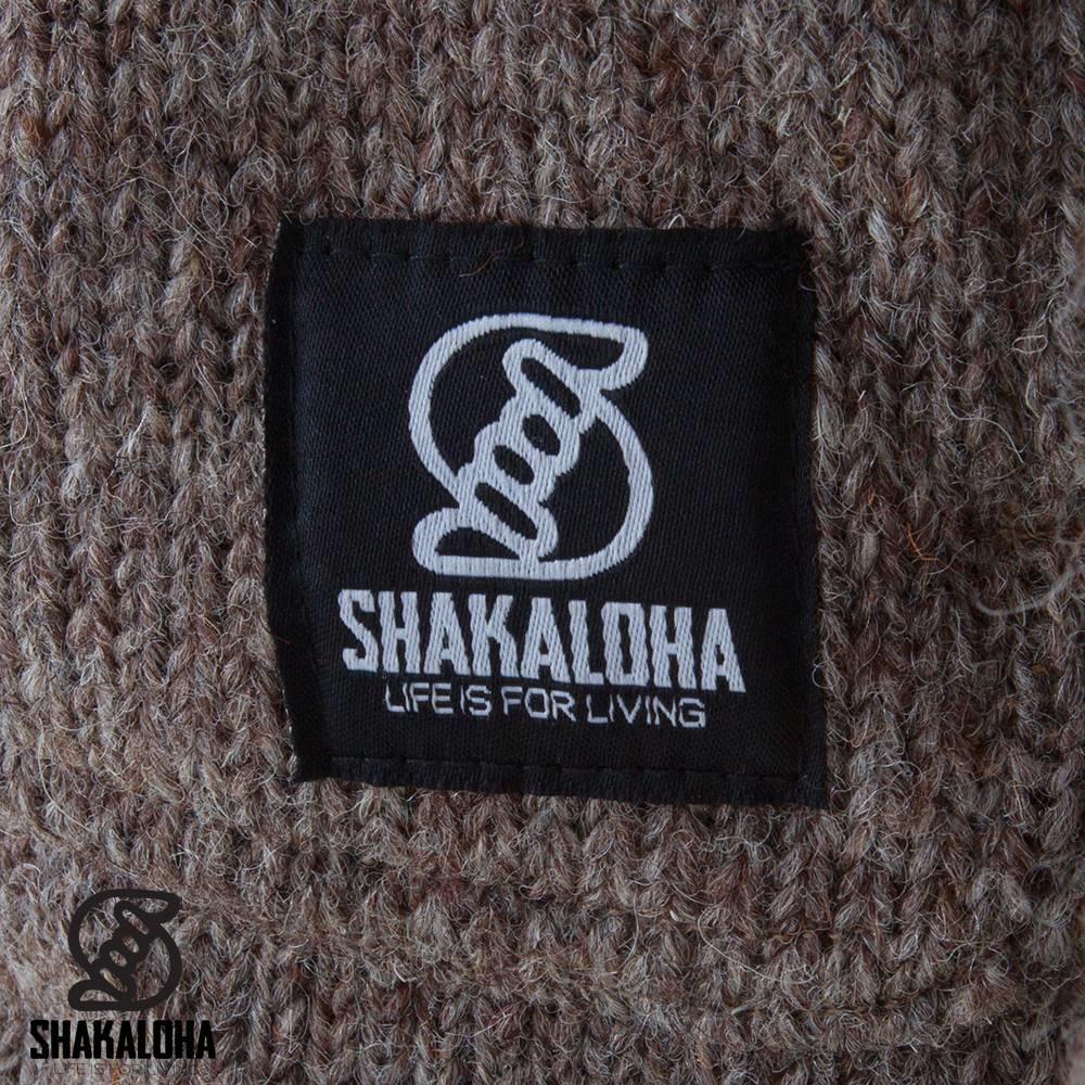 Shakaloha Cardigan en laine tricoté Shakaloha Cody taupe marron clair avec doublure en polaire et capuche amovible - Femme - Fabriqué à la main au Népal à partir de laine de mouton