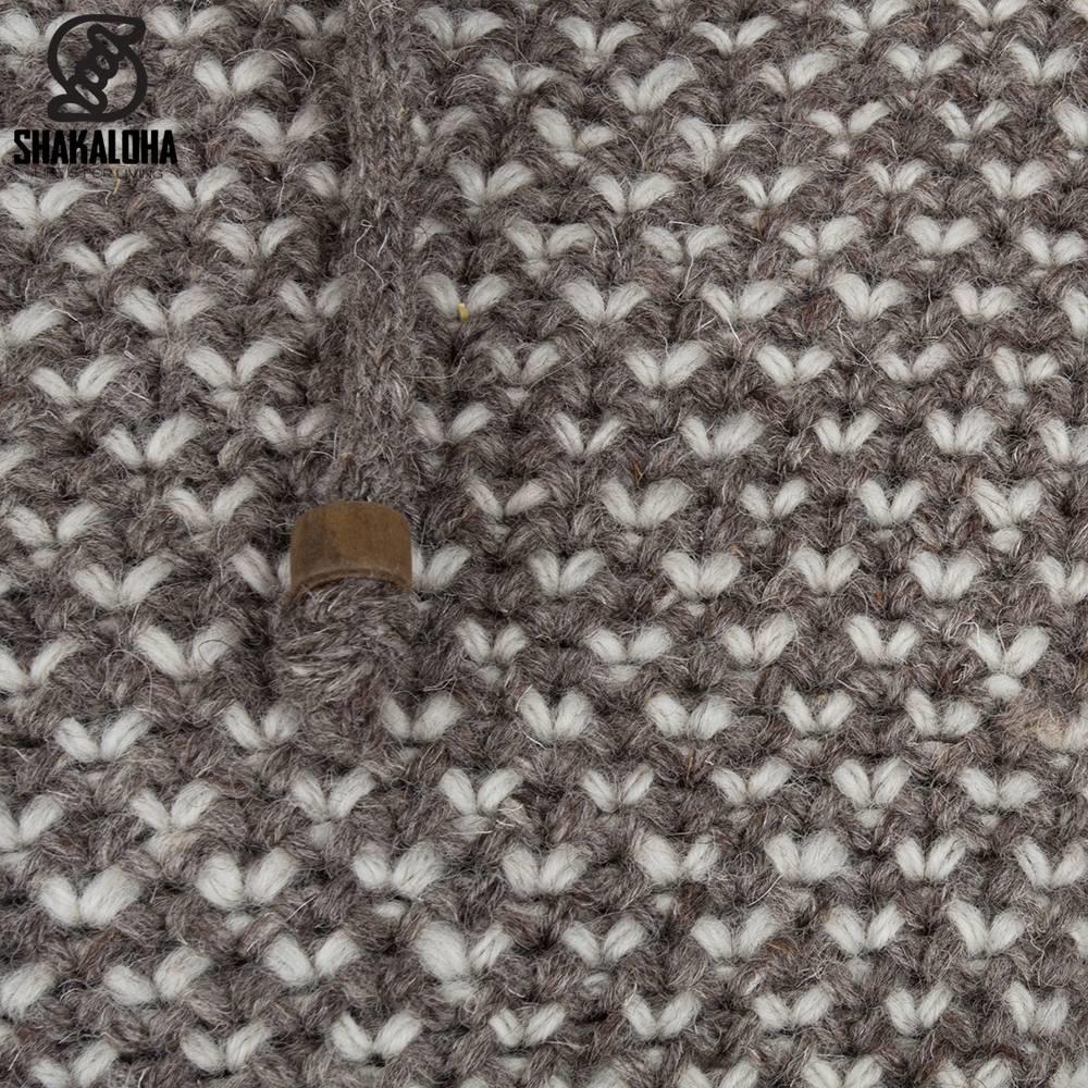 Shakaloha Shakaloha Gebreid Wollen Vest Marlin Licht Bruin Taupe met Fleece Voering en Afneembare Capuchon - Man/Uni - Handgemaakt in Nepal van Schapenwol