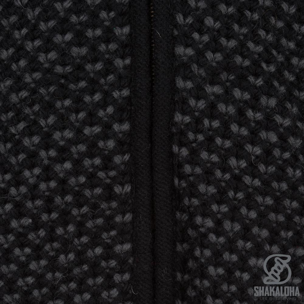 Shakaloha Shakaloha Gebreid Wollen Vest Marlin Zwart met Fleece Voering en Afneembare Capuchon - Man/Uni - Handgemaakt in Nepal van Schapenwol