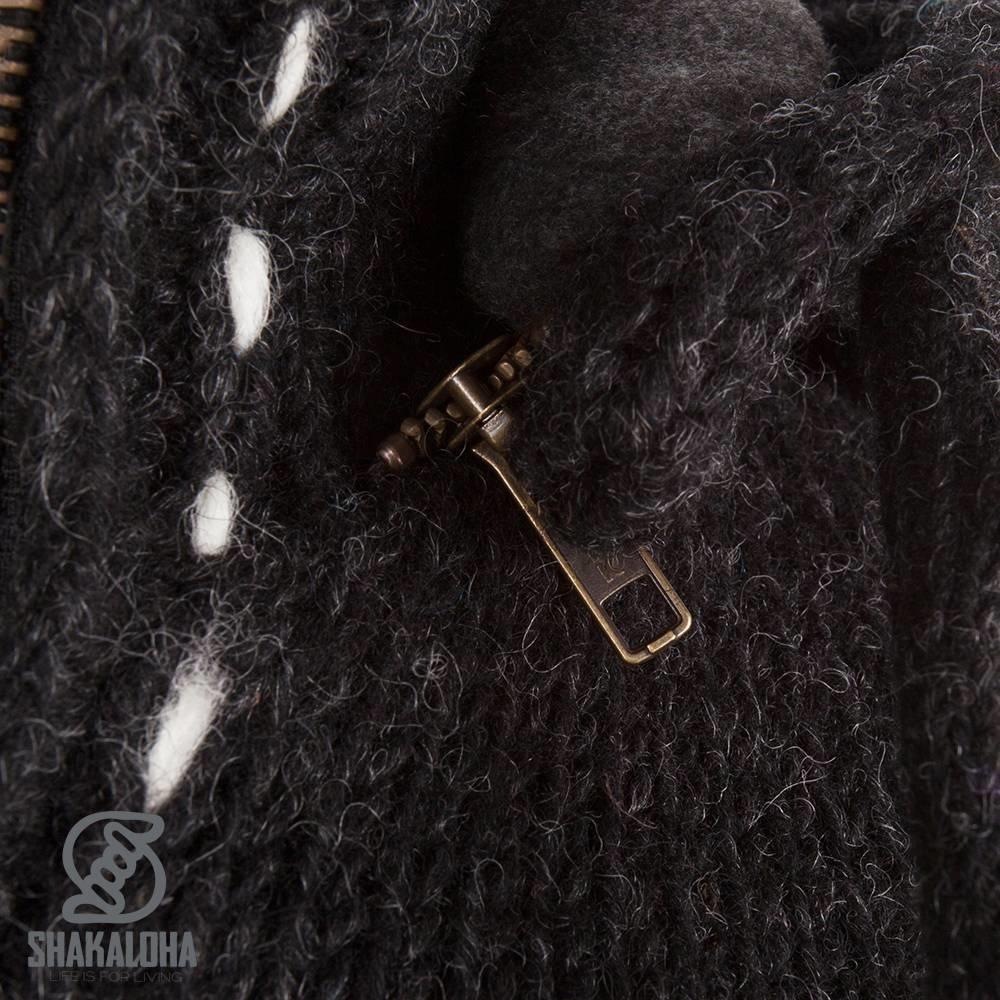 Shakaloha Shakaloha Gebreid Wollen Vest Trinity Antraciet met Fleece Voering en Hoge Kraag - Dames - Handgemaakt in Nepal van Schapenwol