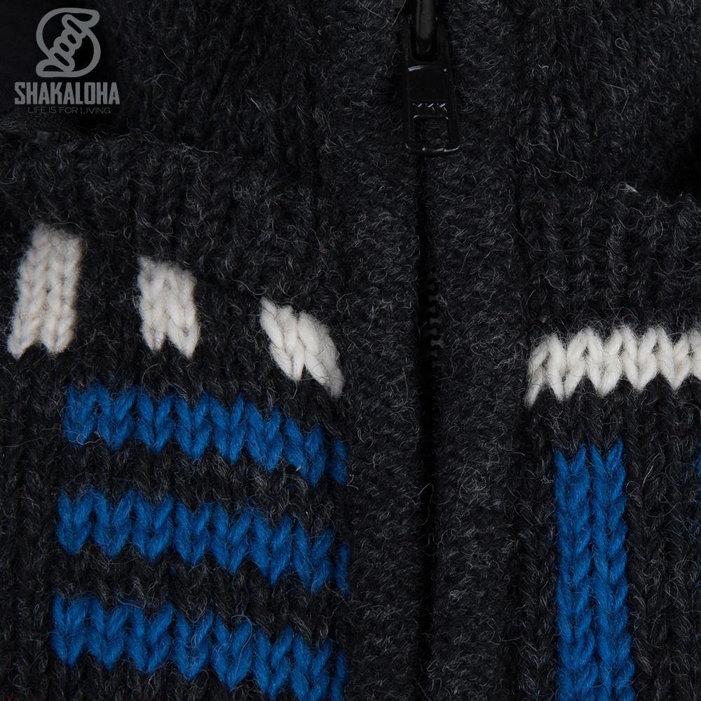 Shakaloha Cardigan en laine tricoté Shakaloha Tictac ZH Anthracite avec doublure en polaire et capuche amovible - Homme/Uni - Fabriqué à la main au Népal à partir de laine de mouton