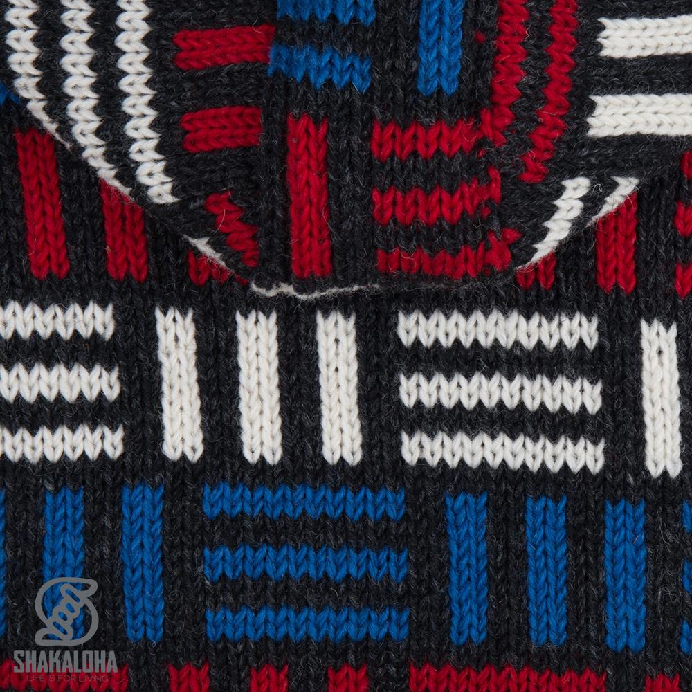 Shakaloha Shakaloha Gebreid Wollen Vest Tictac ZH Antraciet met Fleece Voering en Afneembare Capuchon - Man/Uni - Handgemaakt in Nepal van Schapenwol