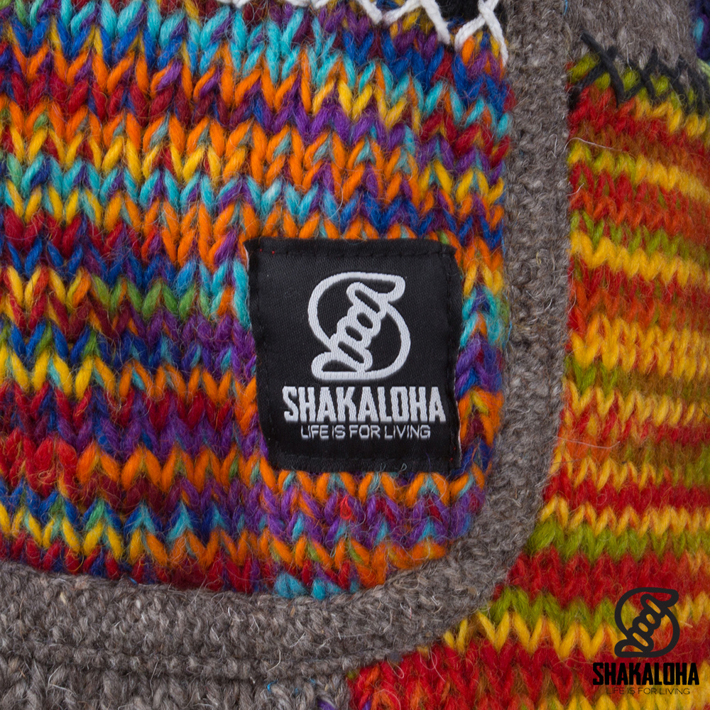 Shakaloha W-patch NH LBrown Patchwork Dames vest met bruin en oranje