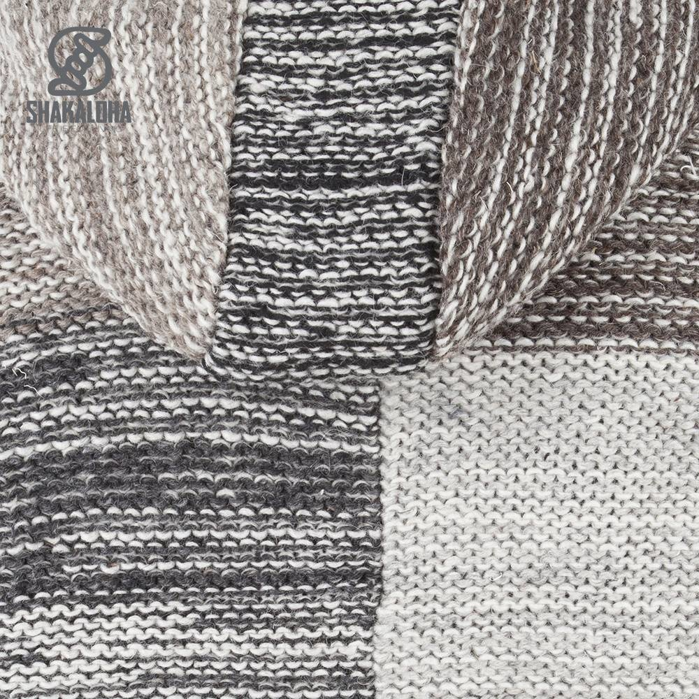 Shakaloha Shakaloha Gebreid Wollen Vest Patch NH Vervaagde Natuurkleuren met Fleece Voering en Capuchon met Binnenkraag - Man/Uni - Handgemaakt in Nepal van Schapenwol