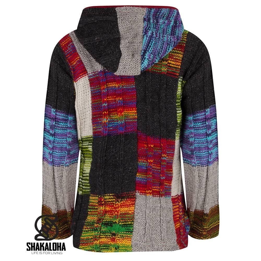 Shakaloha Shakaloha Gebreid Wollen Vest Rib Patch Meerkleurig Bont met Fleece Voering en Capuchon - Dames - Handgemaakt in Nepal van Schapenwol