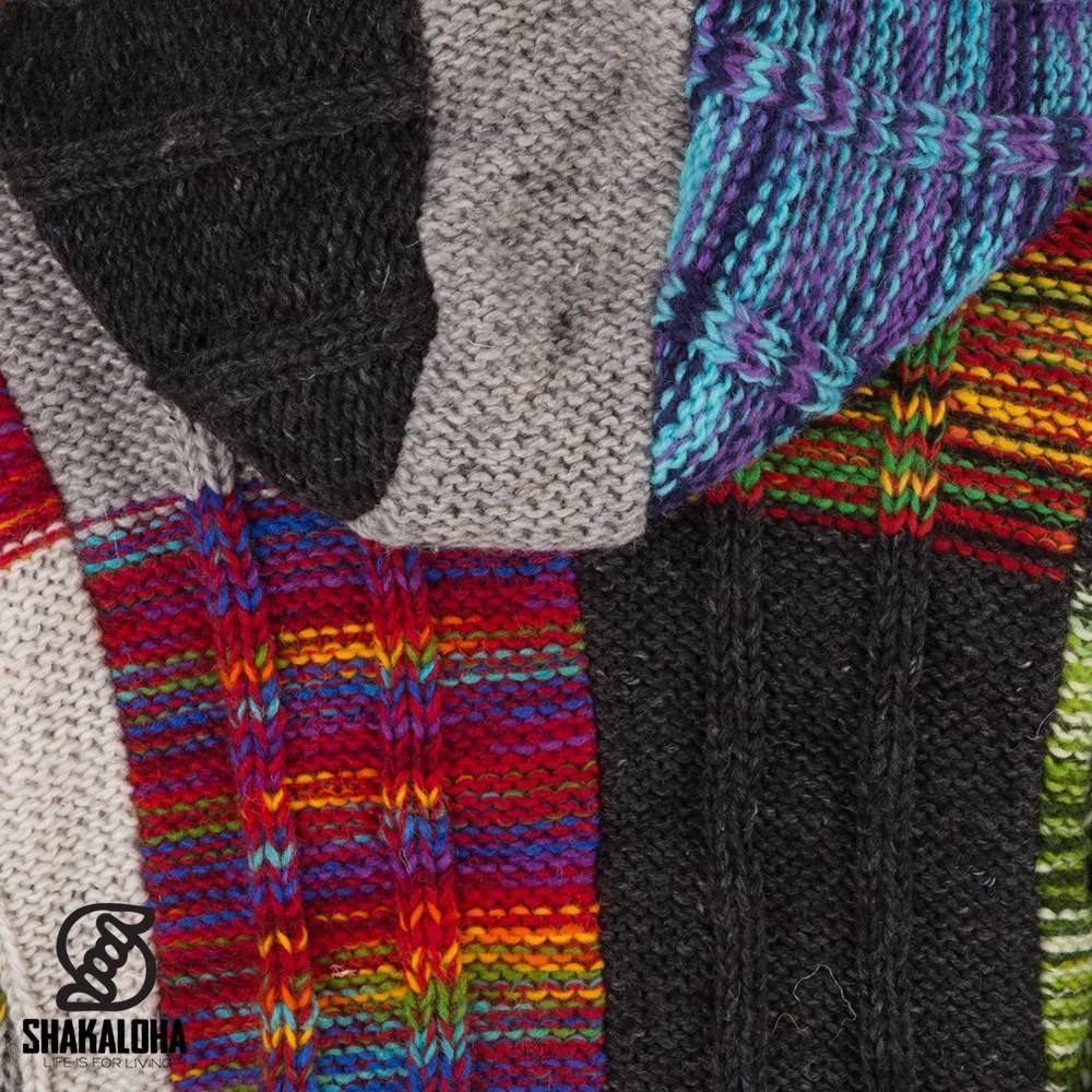 Shakaloha Shakaloha Knitted Wool Cardigan Rib Patch Mehrfarbiges Fell mit Fleecefutter und Kapuze - Damen - Handgefertigt in Nepal aus Schafwolle