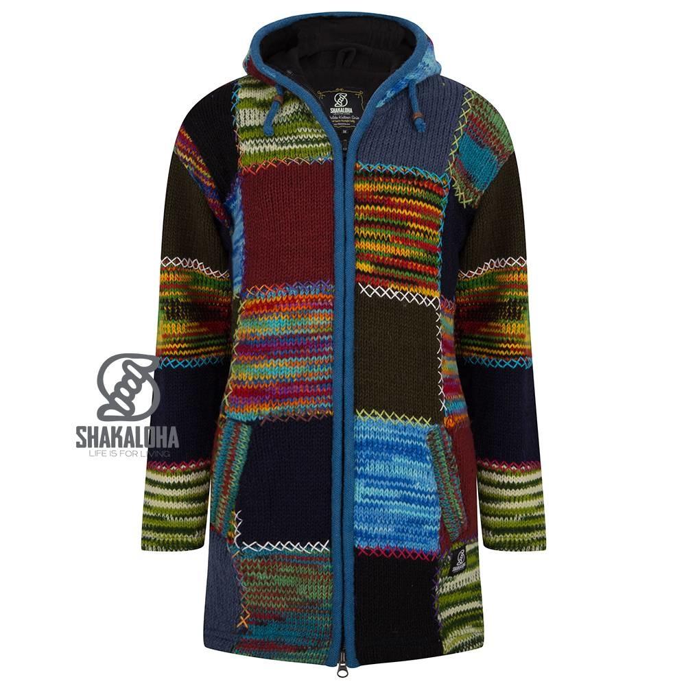 Shakaloha Shakaloha tricoté en laine cardigan long patch fourrure multicolore avec doublure en polaire et capuche - femmes - fait à la main au Népal à partir de laine de mouton