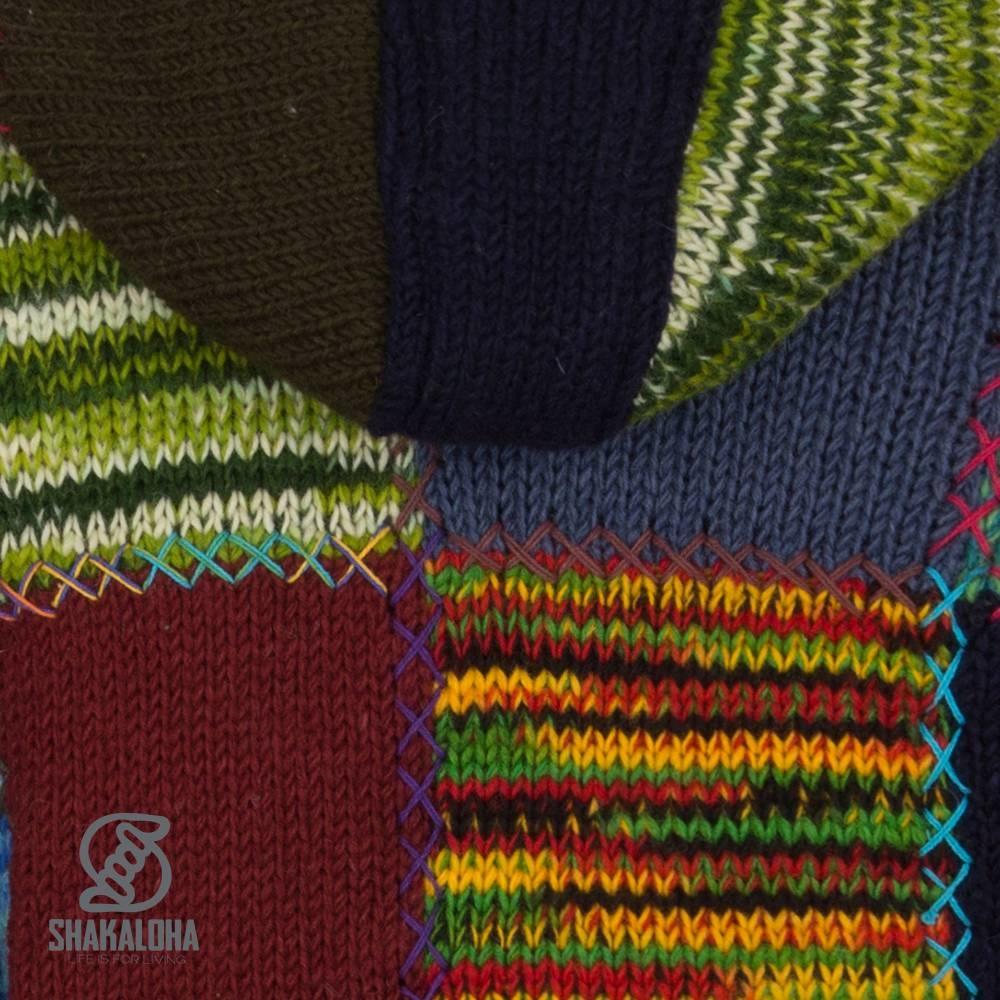 Shakaloha Shakaloha Gebreid Wollen Vest Longpatch Meerkleurig Bont met Fleece Voering en Capuchon - Dames - Handgemaakt in Nepal van Schapenwol