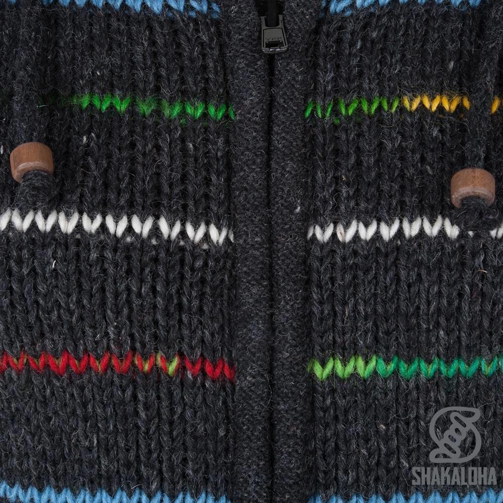 Shakaloha Shakaloha Gebreid Wollen Vest Spectre Antraciet Multicolor met Fleece Voering en Capuchon met Binnenkraag - Dames - Handgemaakt in Nepal van Schapenwol