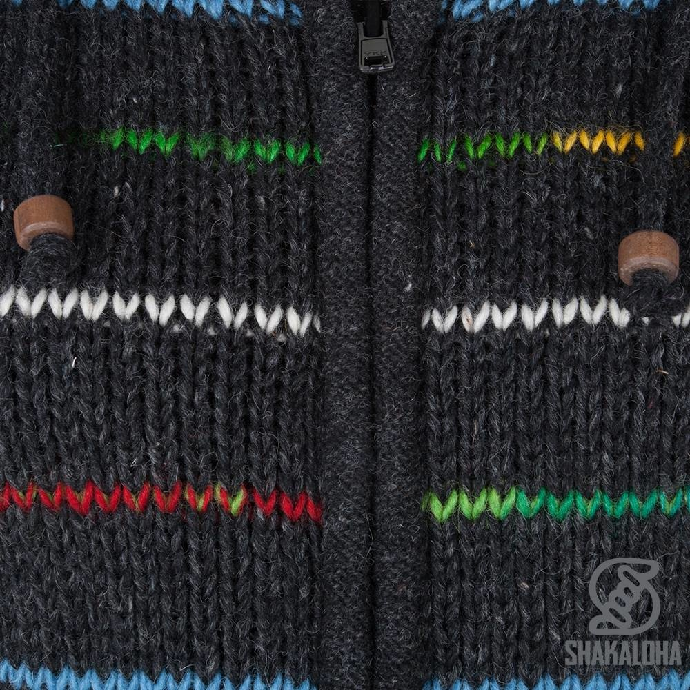 Shakaloha Shakaloha Knitted Wool Cardigan Specter Anthracite Multicolor with Fleece Lining and Hood with Inner Collar - Women - Handmade in Nepal from Sheep Wool