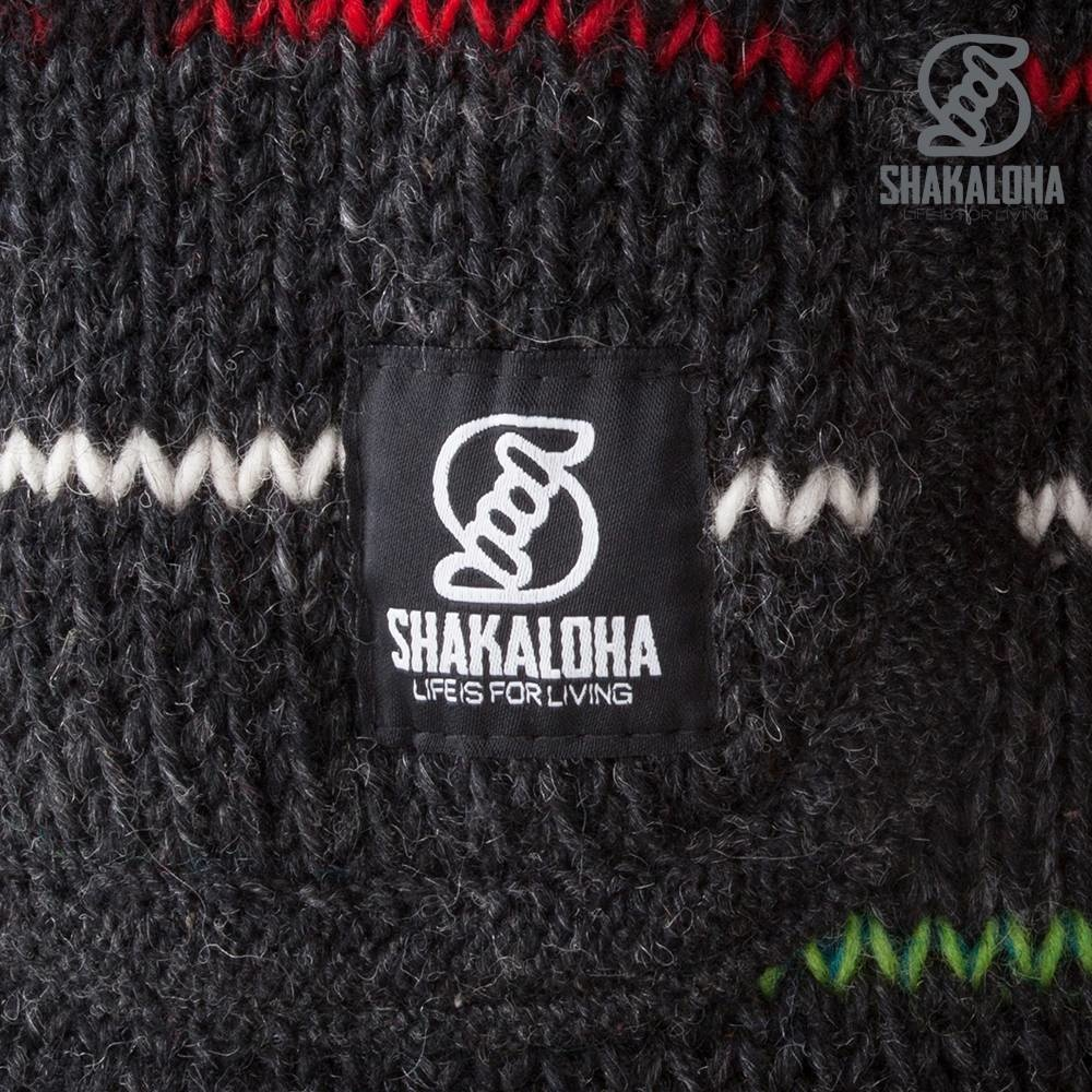 Shakaloha Shakaloha Wollstrickjacke Spectre Anthrazit Multicolor mit Fleecefutter und Kapuze mit Innenkragen - Damen - Handmade in Nepal from Sheep Wool