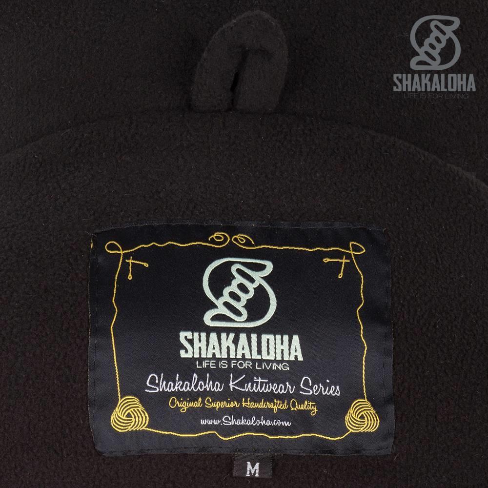Shakaloha Cardigan en laine tricoté Shakaloha Spectre Anthracite multicolore avec doublure en polaire et capuche avec col intérieur - Femme - Fabriqué à la main au Népal à partir de laine de mouton