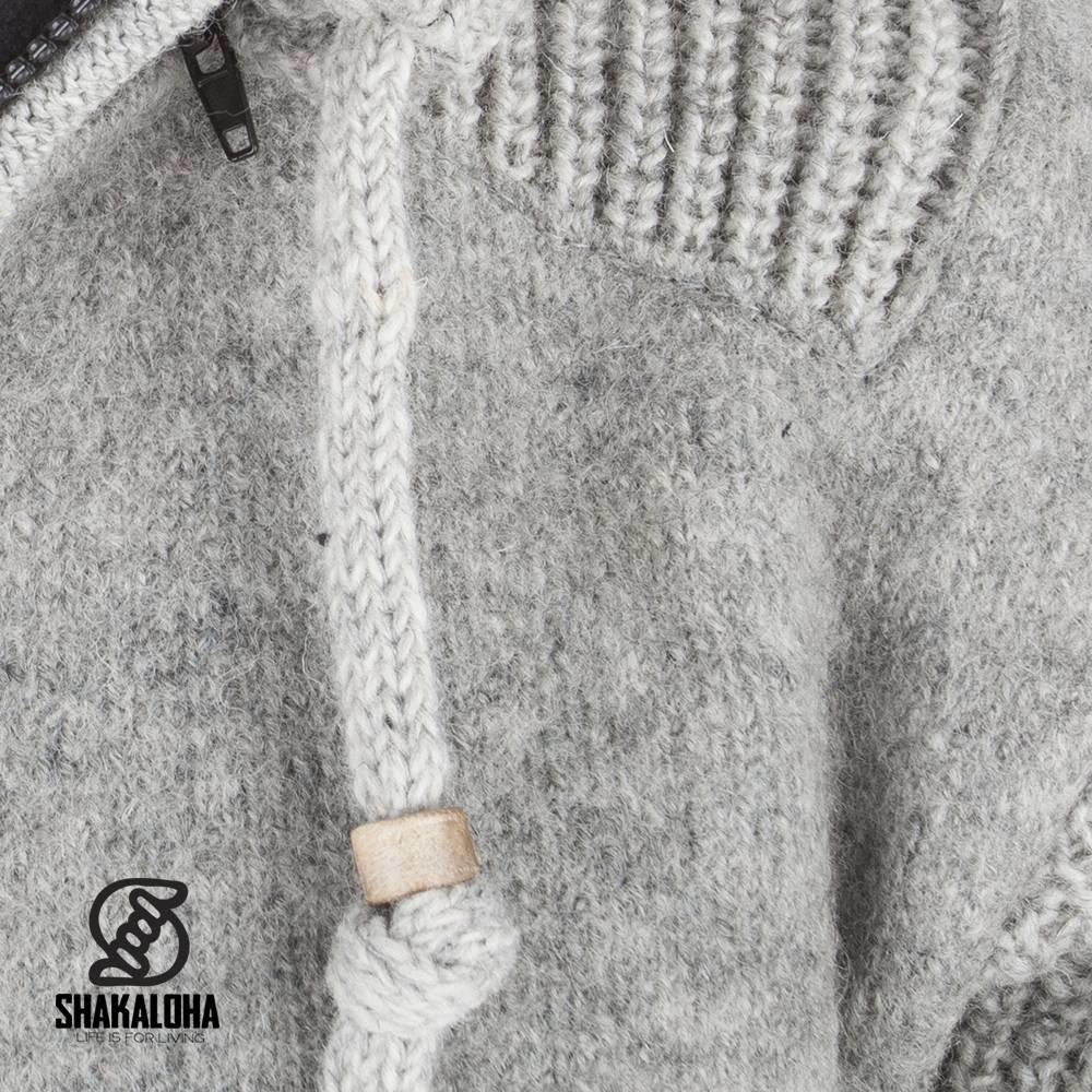 Shakaloha Shakaloha Knitted Wool Cardigan Finn Gray with Fleece Lining and Detachable Hood - Man/Uni - Handmade in Nepal from Sheep Wool