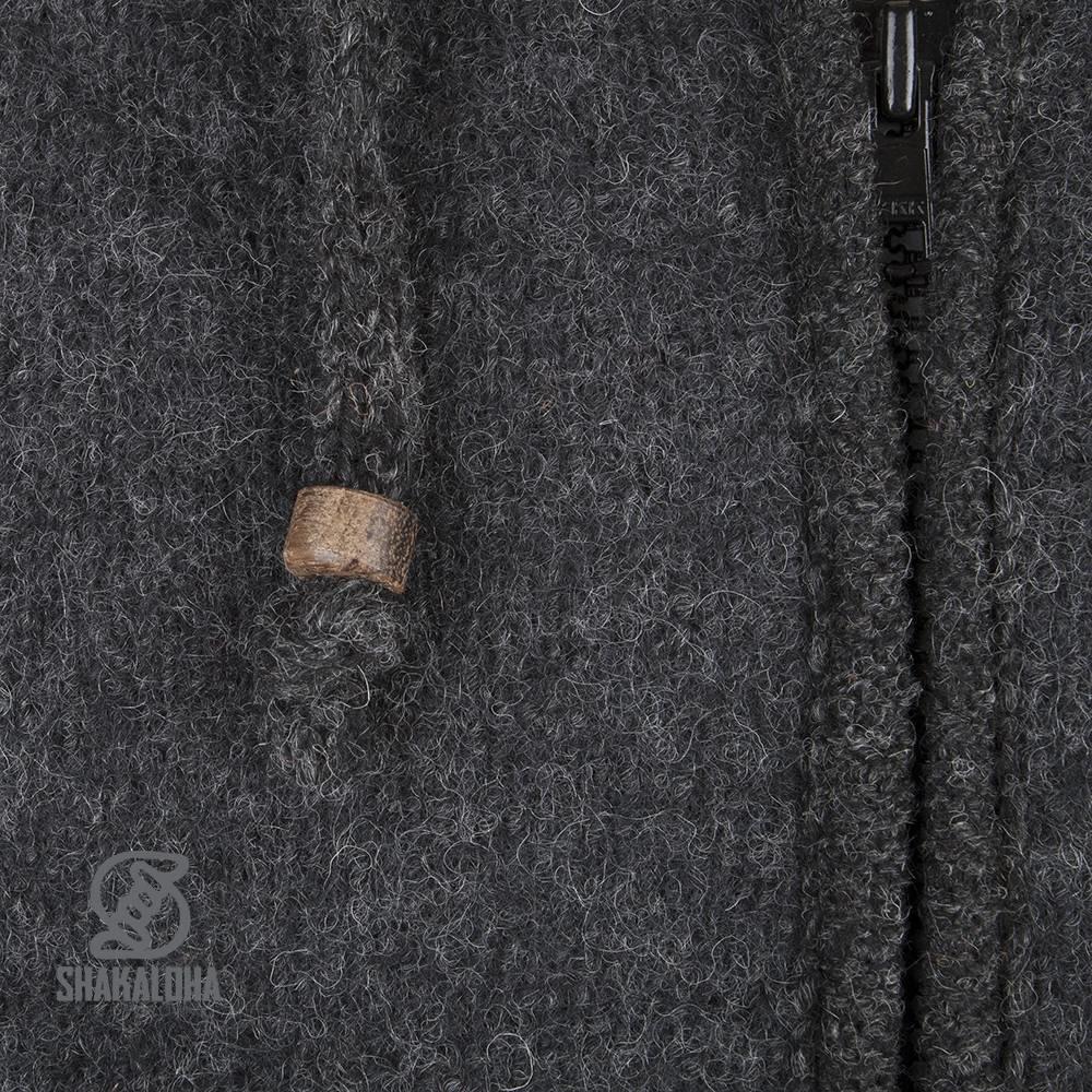 Shakaloha Cardigan en laine tricoté Shakaloha Finn Anthracite avec doublure en polaire et capuche amovible - Homme/Uni - Fabriqué à la main au Népal à partir de laine de mouton