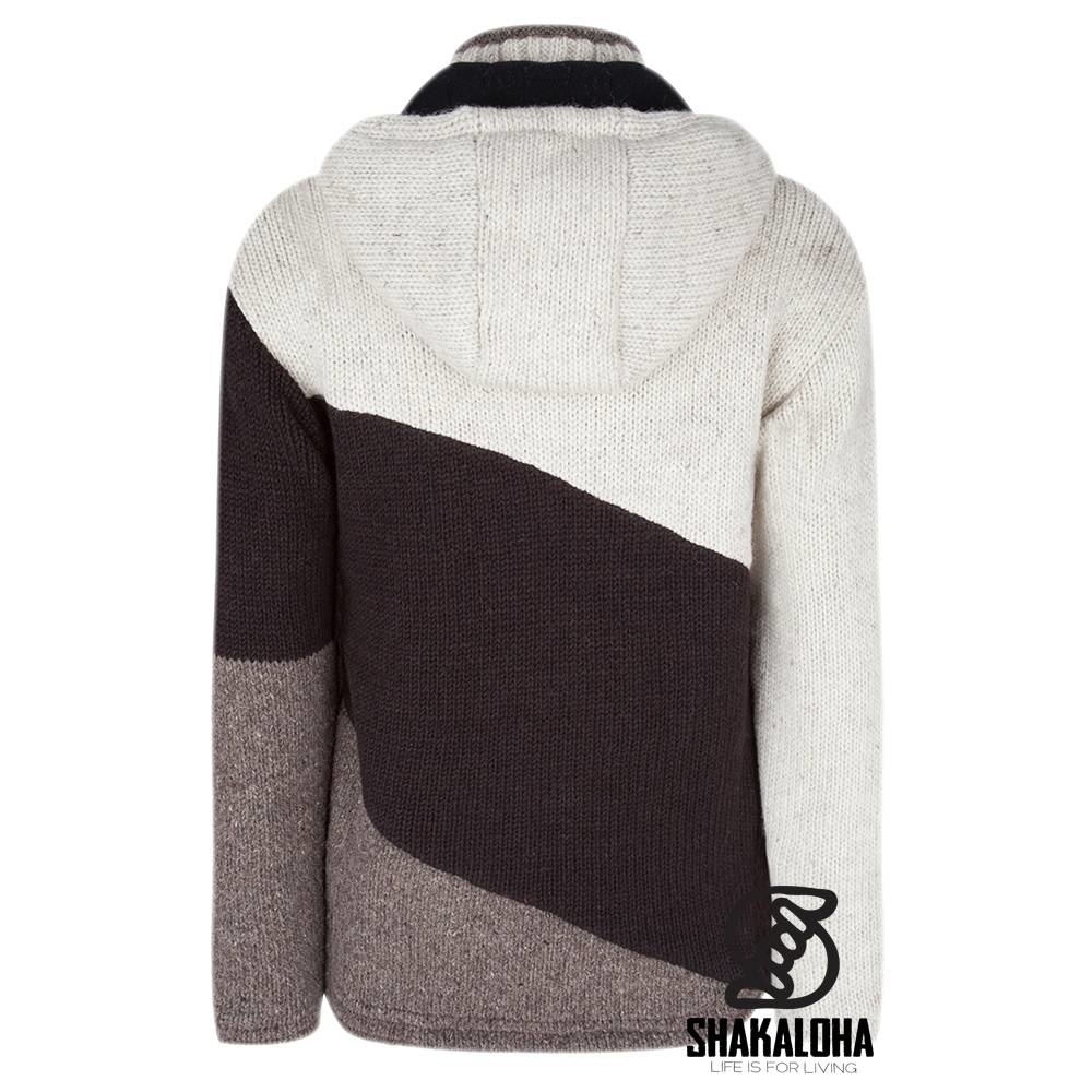 Shakaloha Cardigan en laine tricoté Shakaloha Twist Beige crème avec doublure en polaire et capuche amovible - Homme/Uni - Fabriqué à la main au Népal à partir de laine de mouton