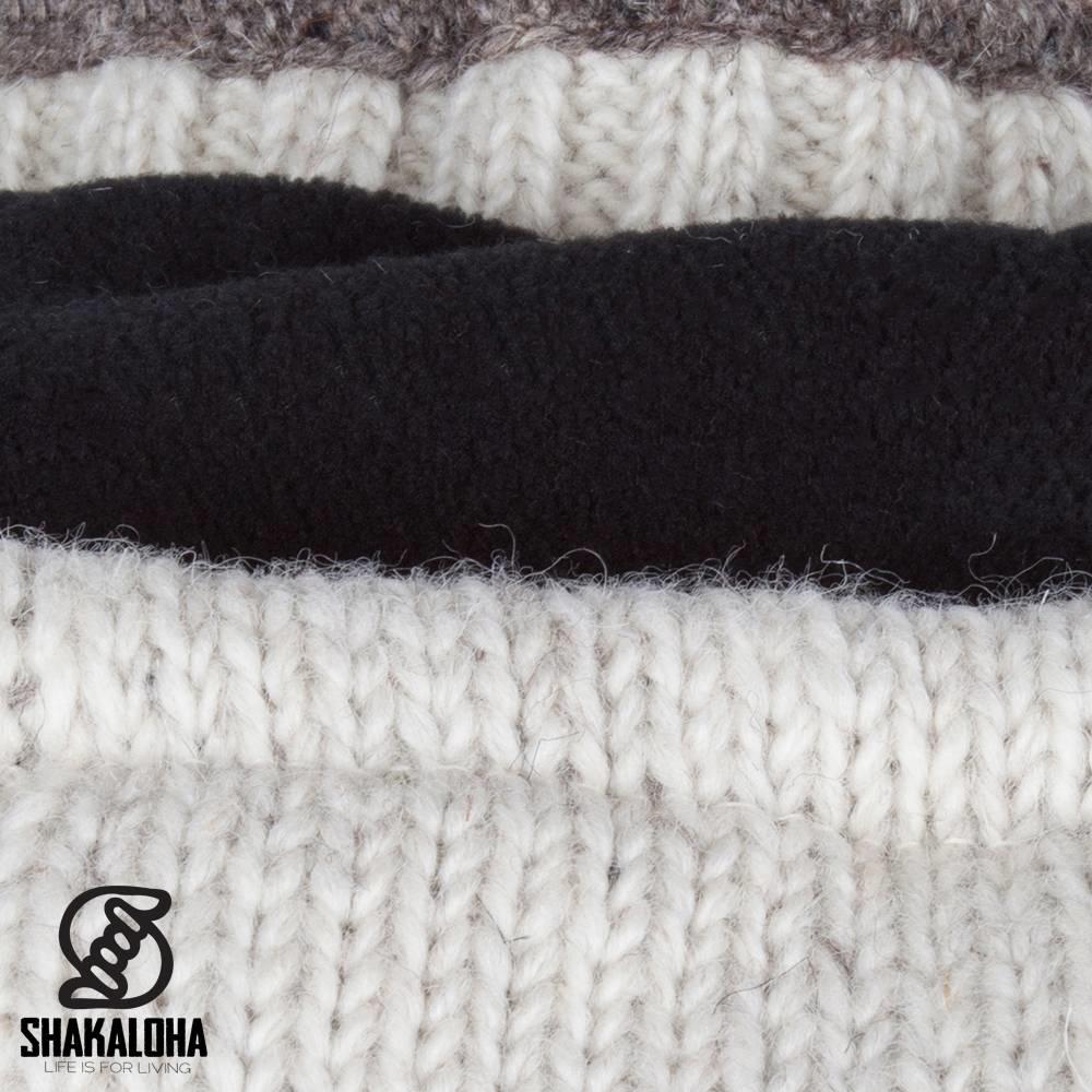 Shakaloha Shakaloha Knitted Wool Cardigan Twist Beige Cream with Fleece Lining and Detachable Hood - Man/Uni - Handmade in Nepal from Sheep Wool