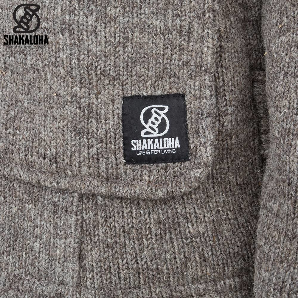 Shakaloha Shakaloha Knitted Wool Cardigan Anchor Light Brown Taupe with Fleece Lining and Hood - Man/Uni - Handmade in Nepal from Sheep Wool