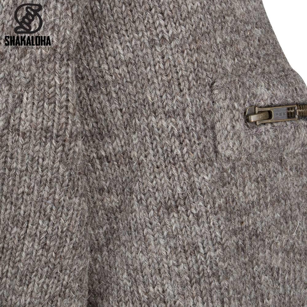 Shakaloha Shakaloha tricoté en laine cardigan ancre marron clair taupe avec doublure en polaire et capuche - homme/uni - fait à la main au Népal à partir de laine de mouton