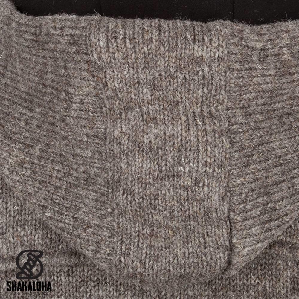 Shakaloha Shakaloha Gebreid Wollen Vest Anchor Licht Bruin Taupe met Fleece Voering en Capuchon - Man/Uni - Handgemaakt in Nepal van Schapenwol