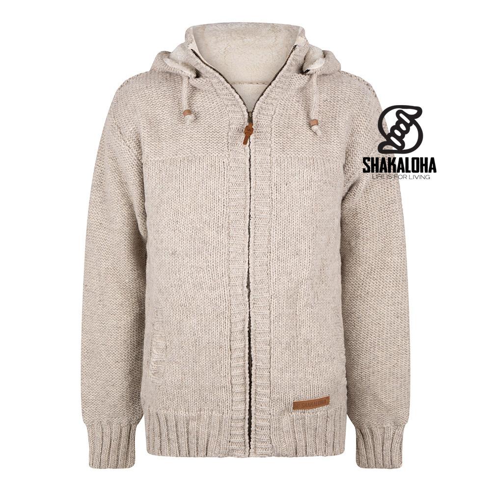 Shakaloha Cardigan en laine tricoté Shakaloha Chamonix ZH avec doublure en polaire Teddy et capuche - Homme / Uni - Fait à la main au Népal à partir de laine de mouton