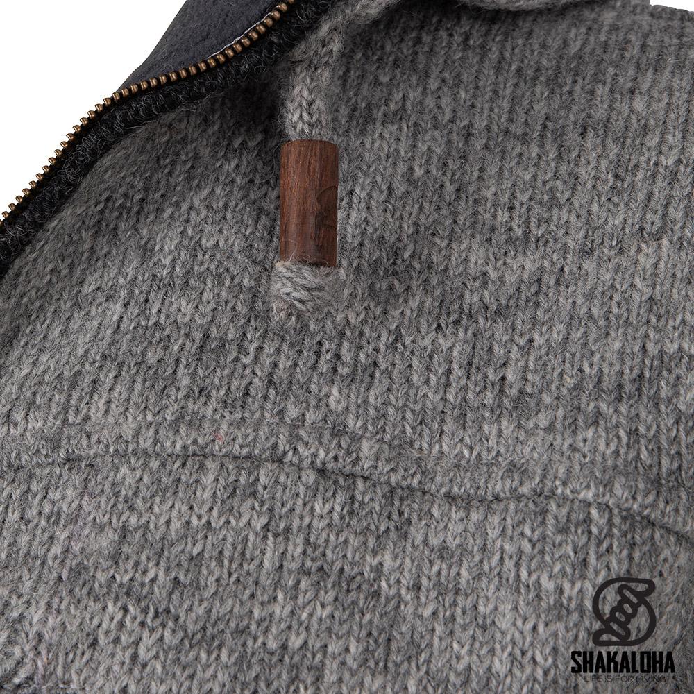 Shakaloha Cardigan long en laine pour hommes gris M Colombo Ziphood