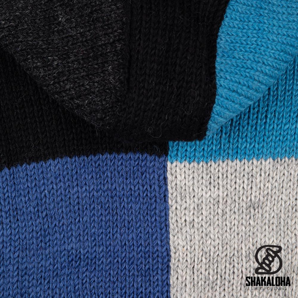Shakaloha Shakaloha Gebreid Wollen Vest Patch NH Blauw met Fleece Voering en Capuchon met Binnenkraag - Man/Uni - Handgemaakt in Nepal van Schapenwol