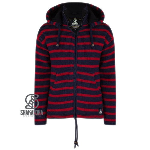 Shakaloha Split Ziphood Navy Red Strickjacke