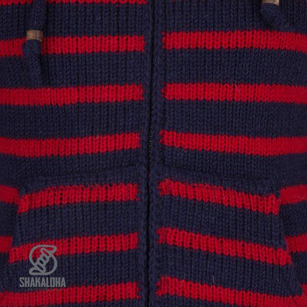 Shakaloha Shakaloha Gebreid Wollen Vest Split Ziphood Navy Blauw Rood met Fleece Voering en Afneembare Capuchon - Man/Uni - Handgemaakt in Nepal van Schapenwol