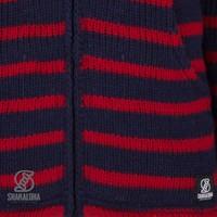 Shakaloha Shakaloha Knitted Woolen Jacket Split Ziphood Navy Blue Red with Fleece Lining and Detachable Hood - Men - Unisex - Handmade in Nepal from sheep's wool