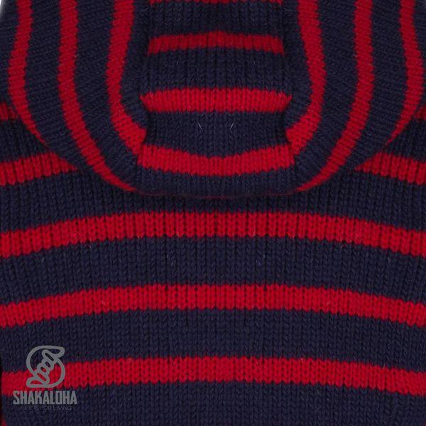 Shakaloha Shakaloha Wolljacke - Strickjacke Split Ziphood Marineblau Rot mit Fleece-Futter und Abnehmbarer Kapuze - Herren - Uni - Handgemacht in Nepal aus Schafwolle