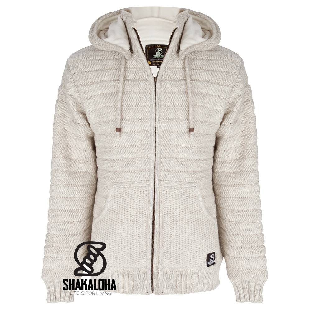 Shakaloha Shakaloha Wolljacke - Strickjacke Chuck Ziphood Beige Creme mit Fleece-Futter und Abnehmbarer Kapuze - Herren - Uni - Handgemacht in Nepal aus Schafwolle