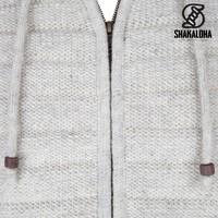 Shakaloha Shakaloha Gebreid Wollen Vest Chuck Ziphood Beige Crème met Fleece Voering en Afneembare Capuchon - Man/Uni - Handgemaakt in Nepal van Schapenwol