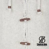 Shakaloha Shakaloha Knitted Woolen Jacket Woodcord Ziphood Beige Cream with Fleece Lining and Detachable Hood - Woman - Handmade in Nepal from sheep's wool