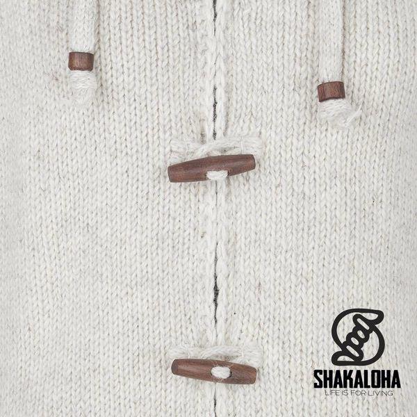 Shakaloha Shakaloha Gebreid Wollen Vest Woodcord Ziphood Beige Crème met Fleece Voering en Afneembare Capuchon - Dames - Handgemaakt in Nepal van Schapenwol