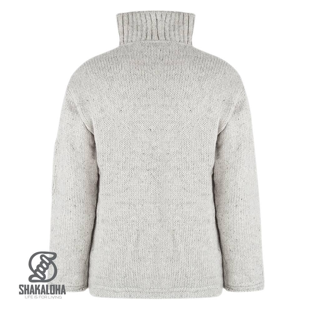 Shakaloha Shakaloha Wolljacke - Strickjacke Crush Collar Grau mit Fleece-Futter und hohem Kragen - Herren - Uni - Handgemacht in Nepal aus Schafwolle