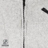 Shakaloha Shakaloha Knitted Woolen Jacket Crush Collar Gray with Fleece Lining and High Collar - Men - Unisex - Handmade in Nepal from sheep's wool