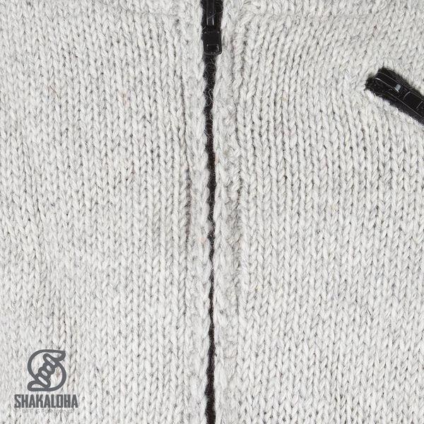 Shakaloha Shakaloha Gebreid Wollen Vest Crush Collar Grijs met Fleece Voering en Hoge Kraag - Man/Uni - Handgemaakt in Nepal van Schapenwol