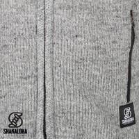 Shakaloha Shakaloha Wolljacke - Strickjacke Navigator Grau mit Fleece-Futter und Abnehmbarer Kapuze - Herren - Uni - Handgemacht in Nepal aus Schafwolle