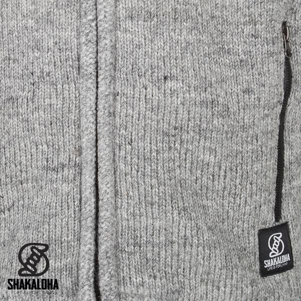Shakaloha Shakaloha Knitted Woolen Jacket Navigator Gray with Fleece Lining and Detachable Hood - Men - Unisex - Handmade in Nepal from sheep's wool