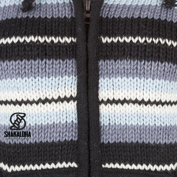 Shakaloha Shakaloha Wolljacke - Strickjacke Pilgrim Grau Hellblau mit Fleece-Futter und Kapuze mit Innenkragen - Damen - Handgemacht in Nepal aus Schafwolle