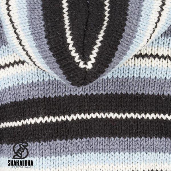 Shakaloha Shakaloha Gebreid Wollen Vest Pilgrim Grijs Licht Blauw met Fleece Voering en Capuchon met Binnenkraag - Dames - Handgemaakt in Nepal van Schapenwol