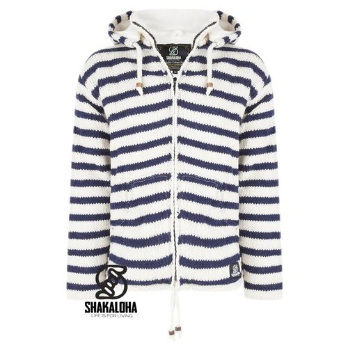 Shakaloha Split Ziphood White Navy Strickjacke